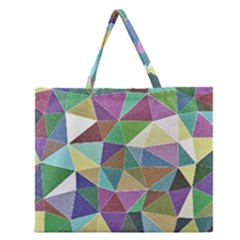 Colorful Triangles, pencil drawing art Zipper Large Tote Bag
