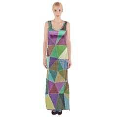 Colorful Triangles, pencil drawing art Maxi Thigh Split Dress