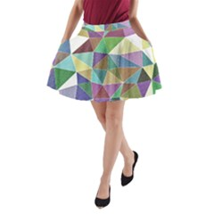 Colorful Triangles, pencil drawing art A-Line Pocket Skirt