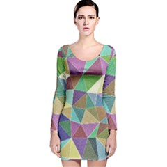 Colorful Triangles, pencil drawing art Long Sleeve Velvet Bodycon Dress