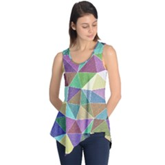 Colorful Triangles, pencil drawing art Sleeveless Tunic