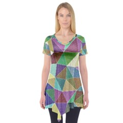 Colorful Triangles, pencil drawing art Short Sleeve Tunic