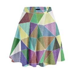 Colorful Triangles, pencil drawing art High Waist Skirt