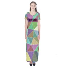 Colorful Triangles, pencil drawing art Short Sleeve Maxi Dress