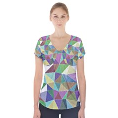Colorful Triangles, Pencil Drawing Art Short Sleeve Front Detail Top