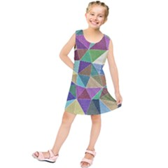 Colorful Triangles, pencil drawing art Kids  Tunic Dress