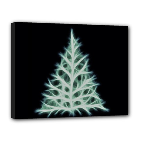 Christmas fir, green and black color Canvas 14  x 11