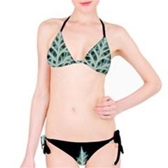Christmas fir, green and black color Bikini Set