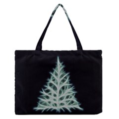 Christmas Fir, Green And Black Color Medium Zipper Tote Bag