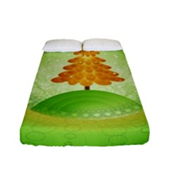 Beautiful Christmas Tree Design Fitted Sheet (Full/ Double Size)