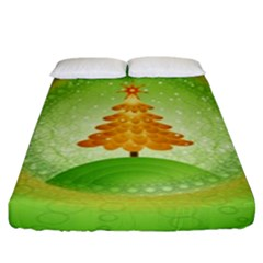 Beautiful Christmas Tree Design Fitted Sheet (King Size)