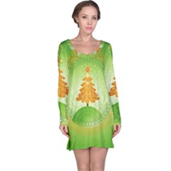 Beautiful Christmas Tree Design Long Sleeve Nightdress