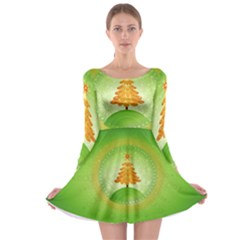 Beautiful Christmas Tree Design Long Sleeve Skater Dress