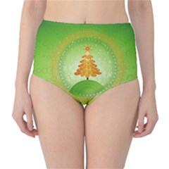 Beautiful Christmas Tree Design High-Waist Bikini Bottoms