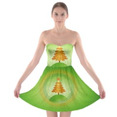 Beautiful Christmas Tree Design Strapless Bra Top Dress