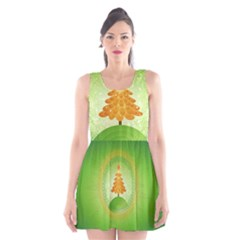 Beautiful Christmas Tree Design Scoop Neck Skater Dress