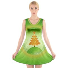 Beautiful Christmas Tree Design V-Neck Sleeveless Skater Dress