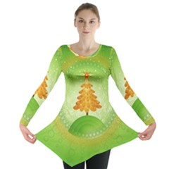 Beautiful Christmas Tree Design Long Sleeve Tunic