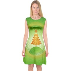Beautiful Christmas Tree Design Capsleeve Midi Dress