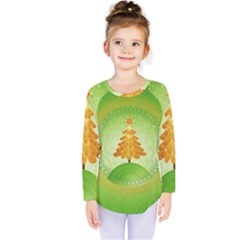 Beautiful Christmas Tree Design Kids  Long Sleeve Tee