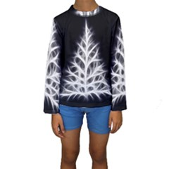 Christmas fir, black and white Kids  Long Sleeve Swimwear