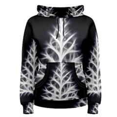 Christmas fir, black and white Women s Pullover Hoodie
