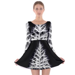 Christmas fir, black and white Long Sleeve Skater Dress