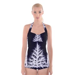 Christmas fir, black and white Boyleg Halter Swimsuit
