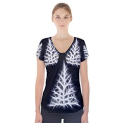 Christmas fir, black and white Short Sleeve Front Detail Top