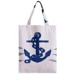 Blue Anchor,  Aquarel painting art Zipper Classic Tote Bag