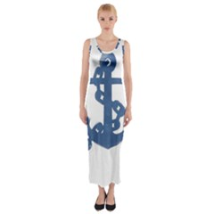 Blue Anchor,  Aquarel painting art Fitted Maxi Dress