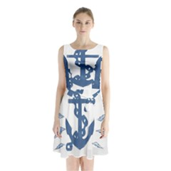 Blue Anchor,  Aquarel painting art Sleeveless Chiffon Waist Tie Dress