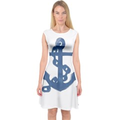 Blue Anchor,  Aquarel painting art Capsleeve Midi Dress