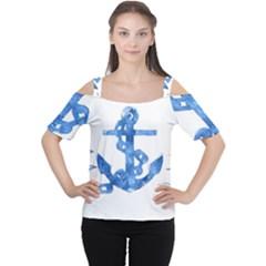 Anchor Aquarel painting art, soft blue Women s Cutout Shoulder Tee