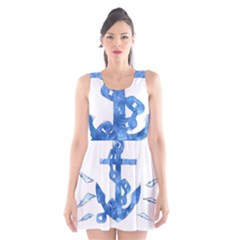 Anchor Aquarel painting art, soft blue Scoop Neck Skater Dress
