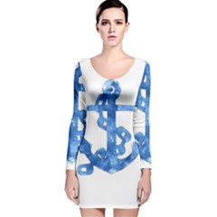 Anchor Aquarel painting art, soft blue Long Sleeve Velvet Bodycon Dress