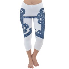 Anchor Pencil drawing art Capri Winter Leggings