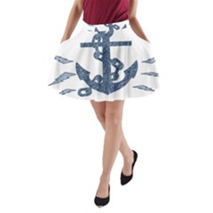Anchor Pencil drawing art A-Line Pocket Skirt
