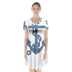 Anchor Pencil drawing art Short Sleeve V-neck Flare Dress