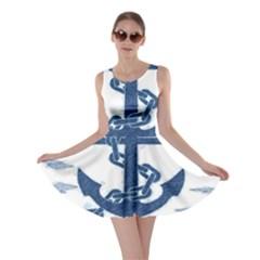 Blue Anchor Oil painting art Skater Dress