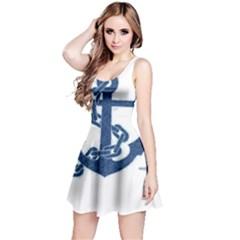 Blue Anchor Oil painting art Reversible Sleeveless Dress