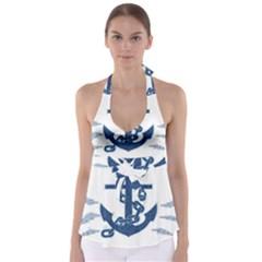 Blue Anchor Oil painting art Babydoll Tankini Top