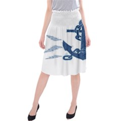 Blue Anchor Oil painting art Midi Beach Skirt