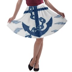 Blue Anchor Oil painting art A-line Skater Skirt