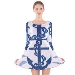 Blue Anchor Oil painting art Long Sleeve Velvet Skater Dress