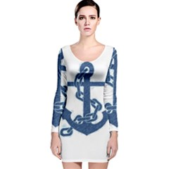 Blue Anchor Oil painting art Long Sleeve Velvet Bodycon Dress