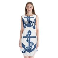 Blue Anchor Oil painting art Sleeveless Chiffon Dress
