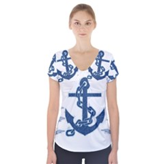 Blue Anchor Oil painting art Short Sleeve Front Detail Top