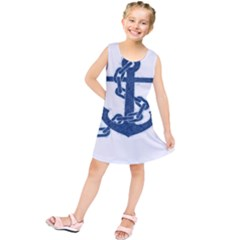 Blue Anchor Oil painting art Kids  Tunic Dress