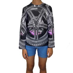 Bord Edge Wheel Tire Black Car Kids  Long Sleeve Swimwear